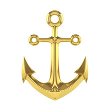 Golden Anchor On A White Backg...