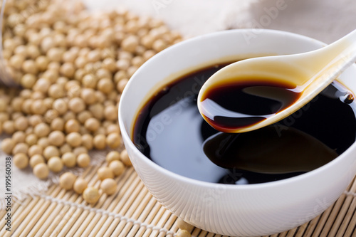 Soy sauce in a spoon