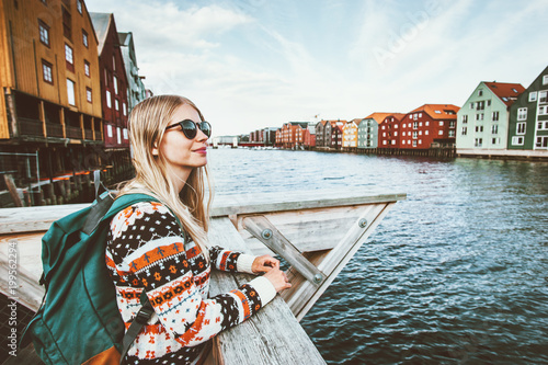 Valokuva  Young blonde woman traveling in Trondheim city Norway vacations weekend Lifestyl