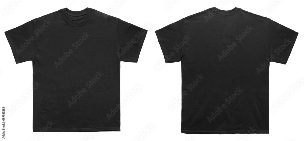 Fototapeta Blank T Shirt color black template front and back view on white background