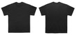 Blank T Shirt color black template front and back view on white background
