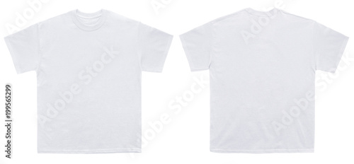 Fotografia Blank T Shirt color white template front and back view on white background