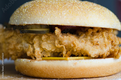 Foto op Plexiglas Brood Hamburger with fried chicken, cheese, onion and cucumber and sesame seeds