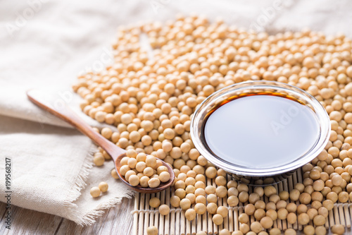 Soy sauce and beans. Closeup.