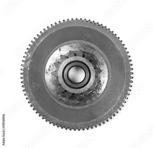 Photo  metal gears isolated on white, design element