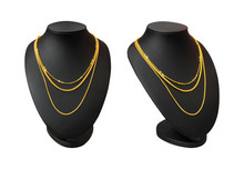 Necklace Display Stand With Gold Necklace Isolated On White Background. Part Of Top Blank Mannequin. ( Clipping Path )