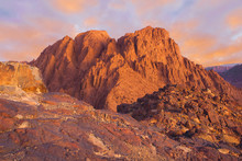 Amazing Sunrise At Sinai Mountain, Mount Moses With A Bedouin, Beautiful View From The Mountain