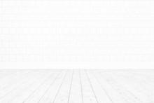 Blank Room White Tile Wall ,white Wooden Floor Minimal Interior Background For Design,3D Rendering