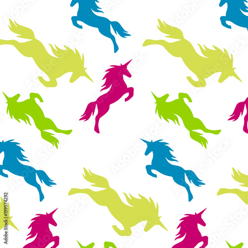 Fotobehang Draw Multicolored seamless vector pattern of multi-colored unicorns, for printing on fabric, paper, packaging, etc.