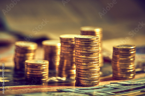 Fotografie, Obraz  Saving stack coins money concept