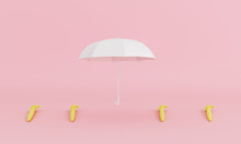 White Umbrella That Is Different From The Others On Pastel Pink Background Minimal Concept. 3d