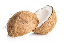 One Sliced Coconut Two Halves ...