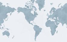World Map Centered On America,...