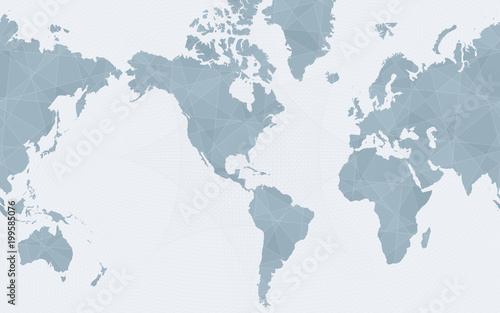 Foto op Canvas Wereldkaart World map centered on America, abstract blue vector world map.
