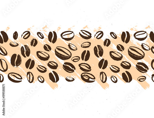 vector seamless coffee backdrop design with hand drawn coffee beans isolated on white background ink drawing coffee seeds packaging design wallpaper banner etc buy this stock vector and explore similar vectors adobe stock