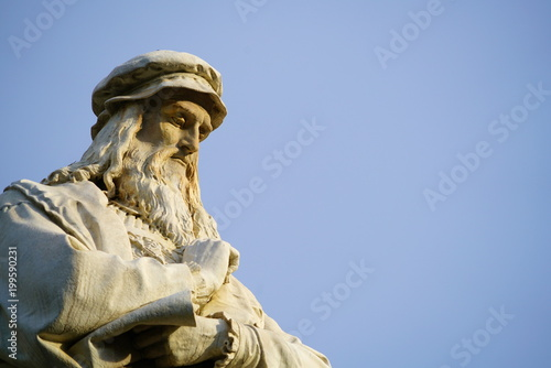 Canvas Prints Historic monument Head of the Leonardo da Vinci statue in Milan