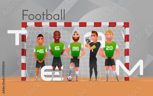 Football team standing at gate. Vector illustration of multiethnic football team standing at gate on gray background. Design character