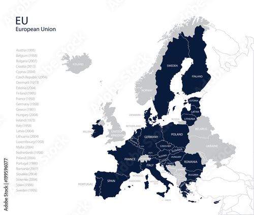 Political map of EU (European Union) without United kingdom ...