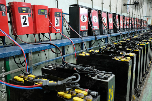 Leinwand Poster recharging electrical for forklift, battery charger.