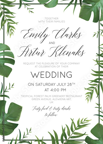 Fototapeta Wedding Floral Invitation Invite Card Vector Watercolor Style Exotic Palm Tree Green Leaves Tropical Forest Greenery Herbs Natural