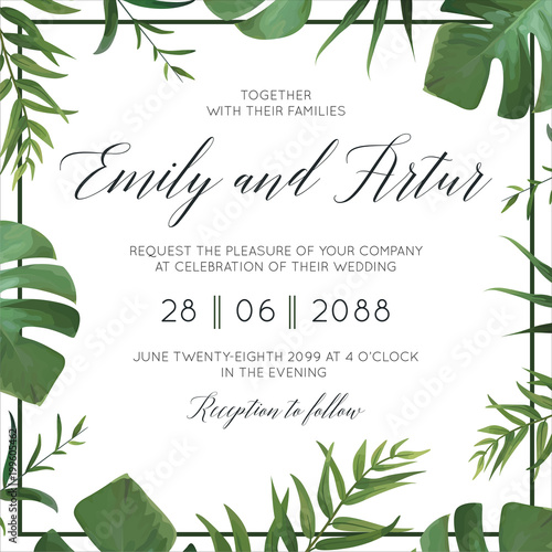 Fototapeta Tropical Wedding Floral Invitation Invite Card Vector Watercolor Style Exotic Palm Tree Green Leaves Forest Greenery Herbs Natural