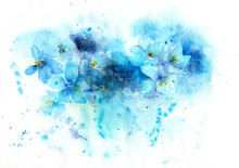 Watercolor Background Of Blue Flowers