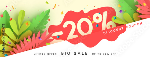 Fototapeta Horizontal sale banner border. Discount coupon cards, headers website. Vector design paper art. Price offer posters, flyers brochure. Design of tropical leaves of different colors in style paper art obraz