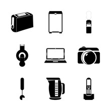 Icon Electronic With Number, Domestic, Lens, Photo Camera And Notebook