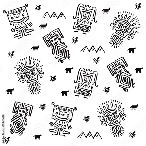 Poster Positive Typography Set of pattern designs with tribal elements. Vector illustration.
