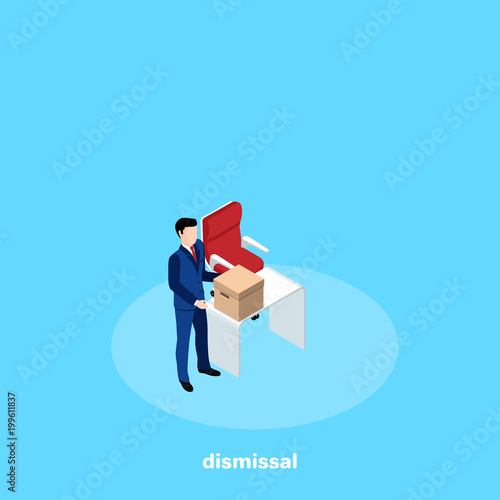 dismissed from work a man in a business suit picks up a box from his
