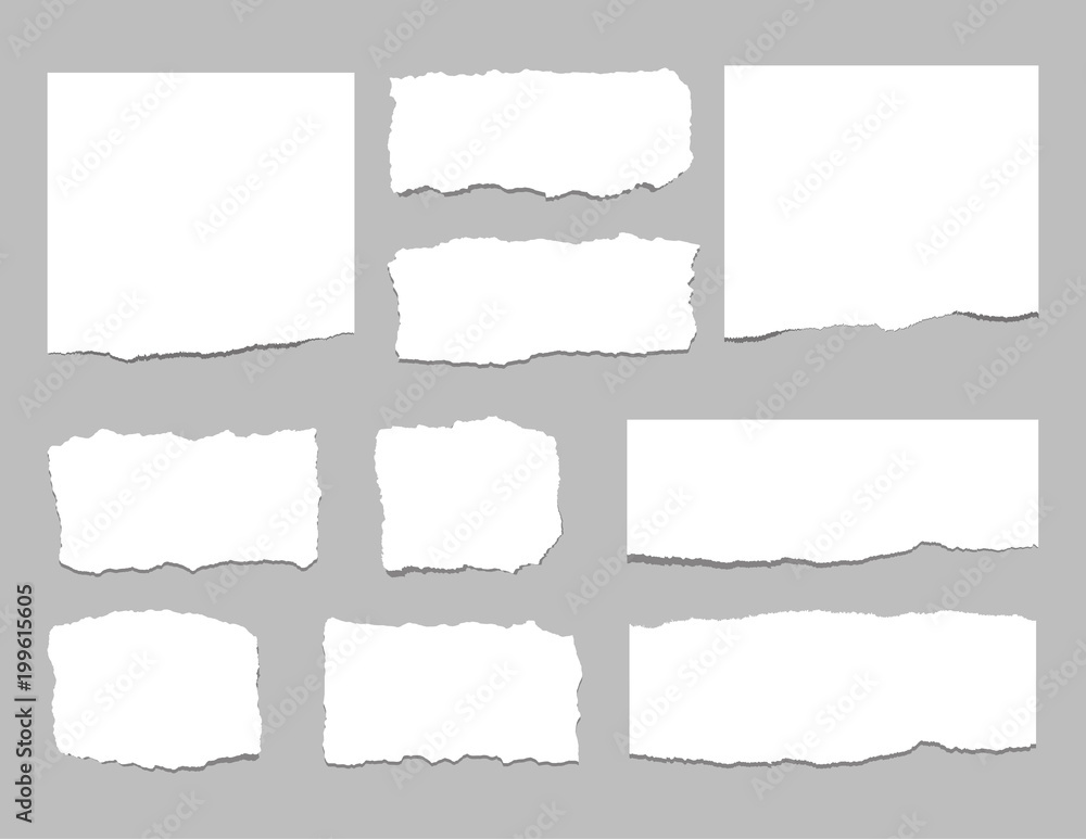 Fototapeta Torn sheets of paper. Torn paper strips. Vector illustration
