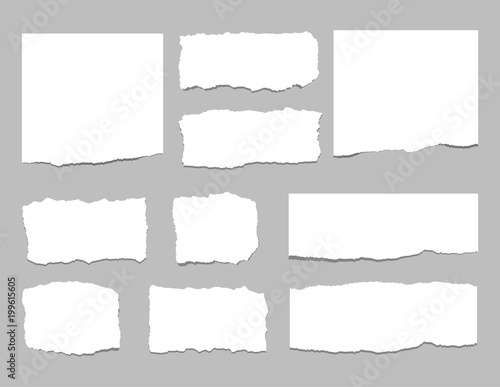 fototapeta na lodówkę Torn sheets of paper. Torn paper strips. Vector illustration