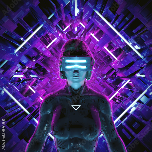 Virtual gamer woman / 3D illustration of female figure entering glowing virtual Poster