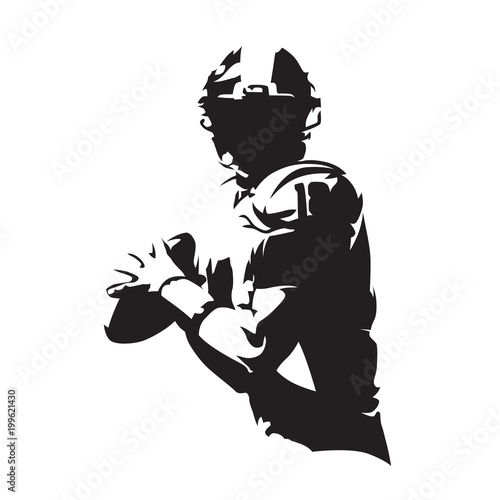 American football player holding ball, isolated vector silhouette Canvas Print
