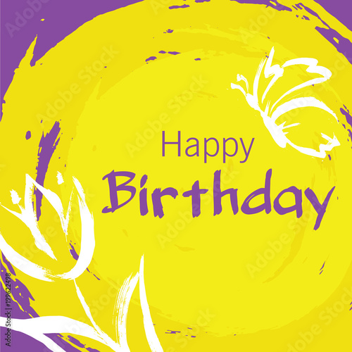 Happy Birthday Card With Hand Draw Elements As Flower And Butterfly On Yellow Background