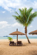 beach umbrellas and deck chairs