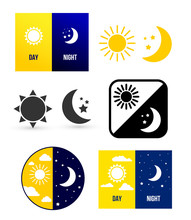 Day Night Theme. Set Of Vector...
