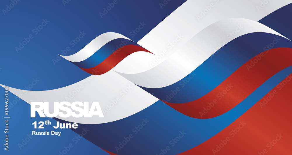 Fototapety, obrazy: Russia National Day flag ribbon landscape background greeting card