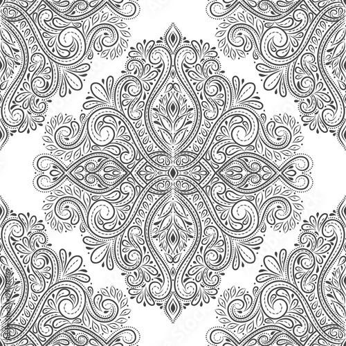 Black And White Vintage Ornamental Seamless Pattern Paisley