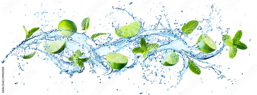 Fototapeta Water Splash With Mint Leaves And Slices Of Lime