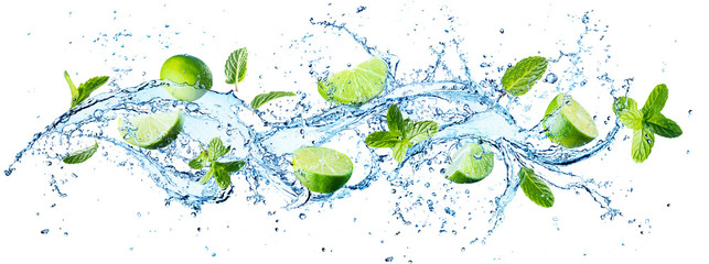 Panel SzklanyWater Splash With Mint Leaves And Slices Of Lime