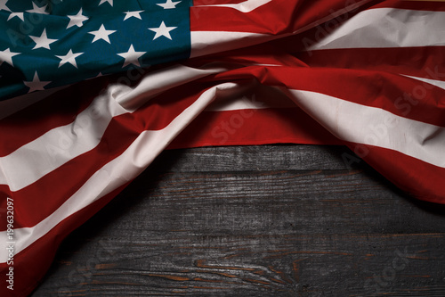 Poster Countryside American flag on a antique wooden platform.