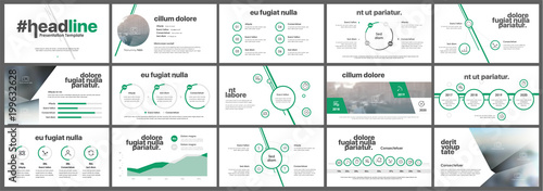 Photo  Green presentation templates elements on a white background.
