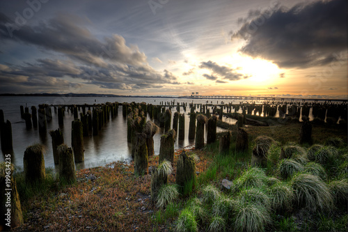 Photo Wood pilings at sunset in Oregon.