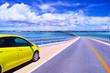 canvas print picture 真夏の宮古島、伊良部大橋の駐車スペースに駐車する車と宮古島方面の眺望