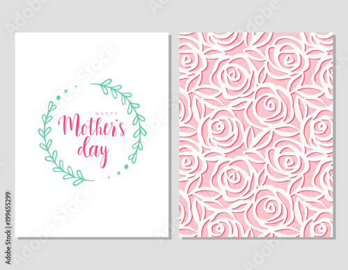 Happy mother\'s day template cards set. Vector greeting card with ...