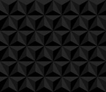 Dark Pyramid. Vector Seamless Pattern With Triangles. Black Geometric Background. Visual Illusion