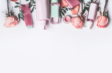 Cosmetics Set With Rose Essent...