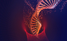 DNA-helix. Nanotechnology In Medical Research. Hi Tech In The Field Of Genetic Engineering. 3D Illustration On A Futuristic Background
