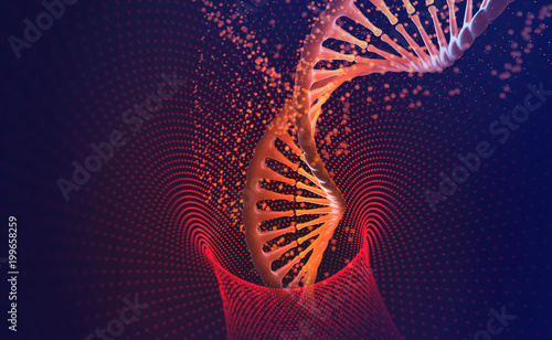 Türaufkleber Spirale DNA-helix. Nanotechnology in medical research. Hi Tech in the field of genetic engineering. 3D illustration on a futuristic background